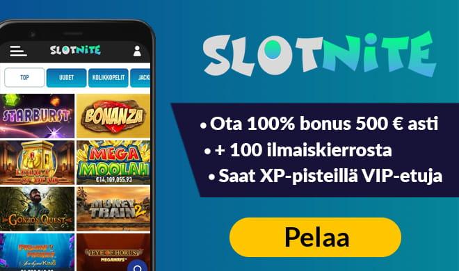 Slotnite kasino kokemuksia voi kerätä 100% bonuksella sekä 100 ilmaiskierroksella