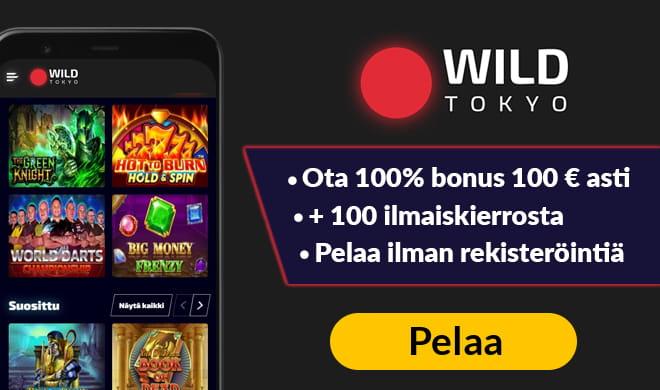 Kokeile nyt WildTokyo casinoa 100% bonuksella, joka on voimassa aina 100 € talletukseen asti.