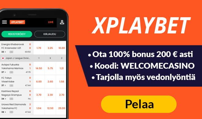 Xplaybet casinolla pääset tuplaamaan ensimmäisen talletuksesi jopa 200 € asti.