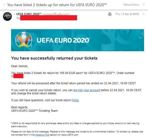 Sähköpostivahvistus jalkapallon em-kisojen lippujen peruutuksesta