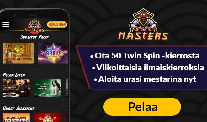Casinomasters sivustolla pääset aloittamaan pelit 50 ilmaiskierroksen avulla, jotka saat Twin Spin -kolikkopeliin.