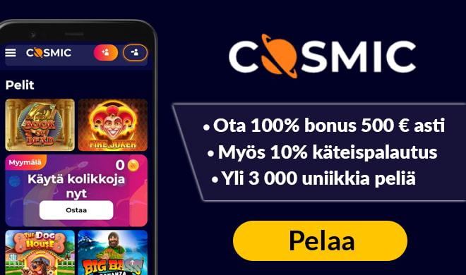 Kokeile CosmicSlot kasinoa 100% bonuksella 400 € asti