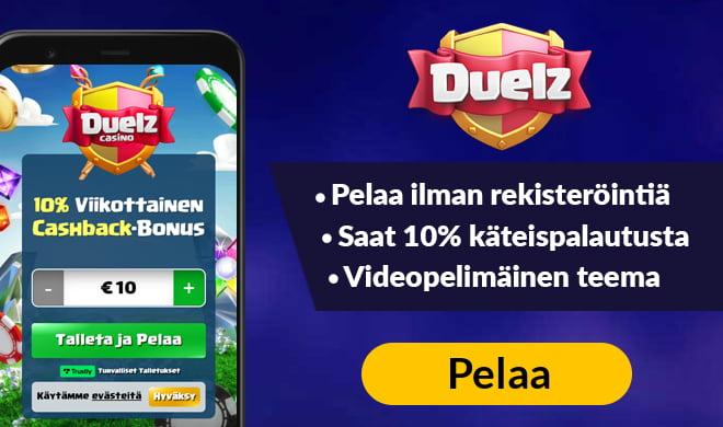 Uusi Duelz Casinon asiakas saa heti kättelyssä 50 kierrosta ilman talletusta