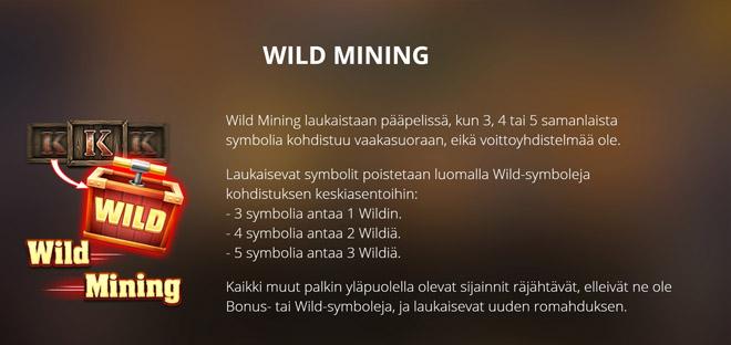 Wild Mining -toiminto räjäyttää wild kuviot samalla poistaen kuvioita ruudusta