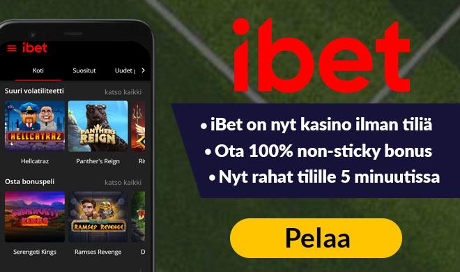 iBet kasinolta nappaat 100% non-sticky bonuksen 250 € asti