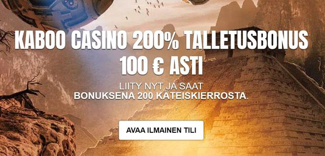 Bonuksena Kaboo Casino tarjoaa non-sticky 200% edun sekä 100 käteiskierrosta