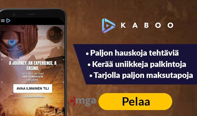 Aloita pelit Kaboo Casinolla aktivoimalla 200% non-sticky bonus 100 € asti sekä 100 käteiskierrosta Book of Dead -peliin
