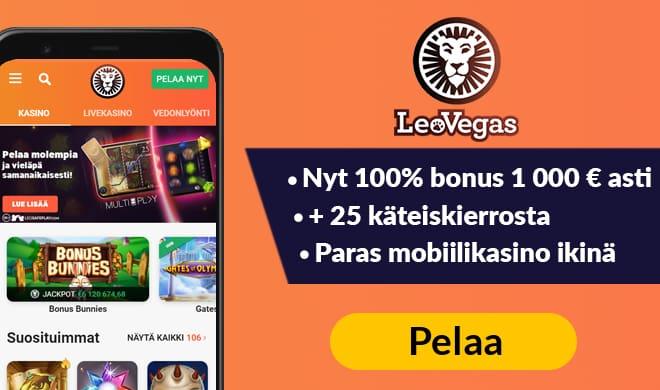 Nappaa Leo Vegasin 100% talletusbonus aina 1 000 € asti