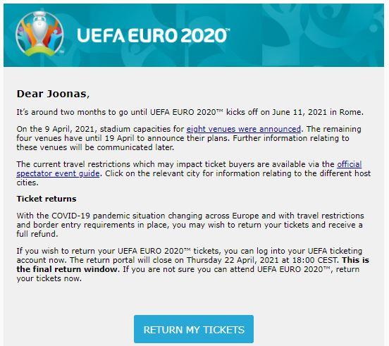 Jalkapallon EM-kisojen 2020 lippujen peruutus