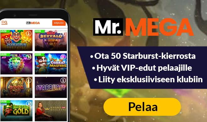 Aloita pelit MrMega kasinolla 50 ilmaiskierroksen voimin
