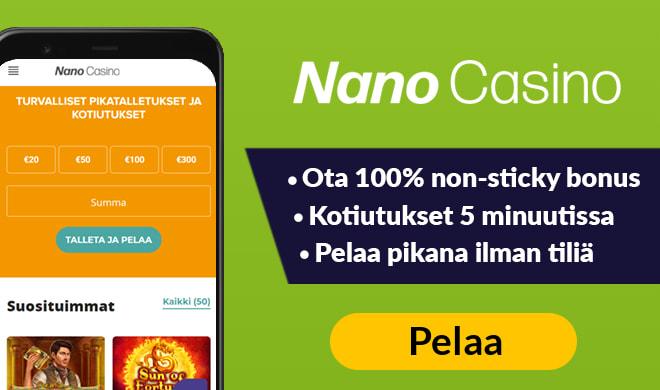 Nano Casinolla saat aina 10% tappioista takaisin käteisenä