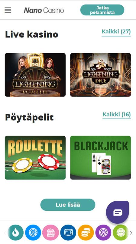 Kasinon pelivalikoima on saatavilla myös mobiilissa