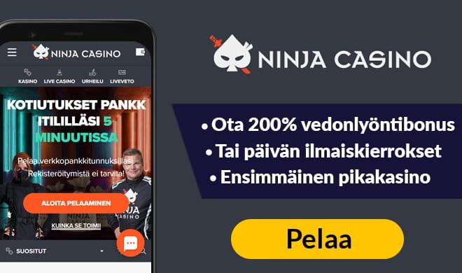 Ninja Casinolla pelit voi aloittaa heti ilman tilin rekisteröimistä.