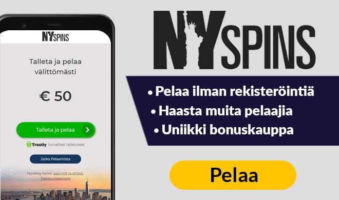 Nappaa nyt NYSpins kasinon tarjoamat 50 ilmaiskierrosta ilman talletusta