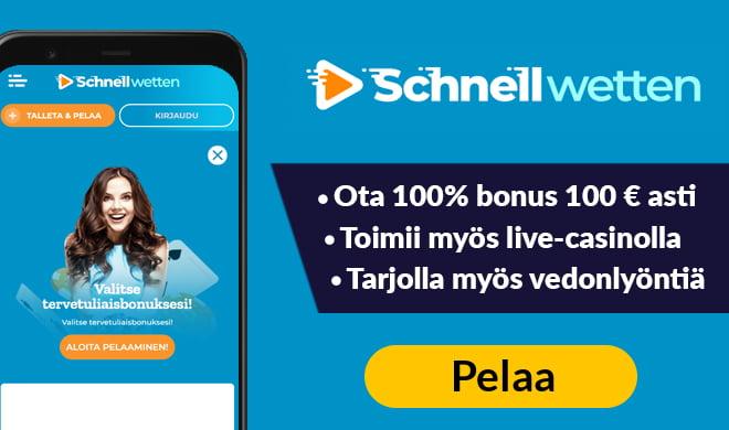 Tuplaa talletuksesi Schnellwetten kasinolla nyt bonuskoodien avulla