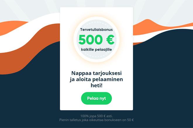 Simple casino tarjoaa 100% non-sticky bonuksen, joka on voimassa 500 € asti