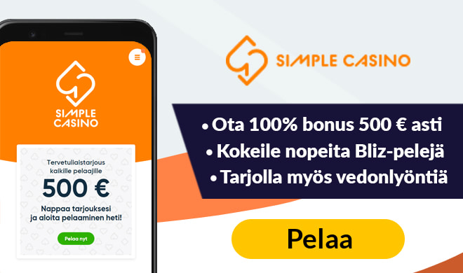 Ota nyt simple casinon iso 100% bonus 500 € asti