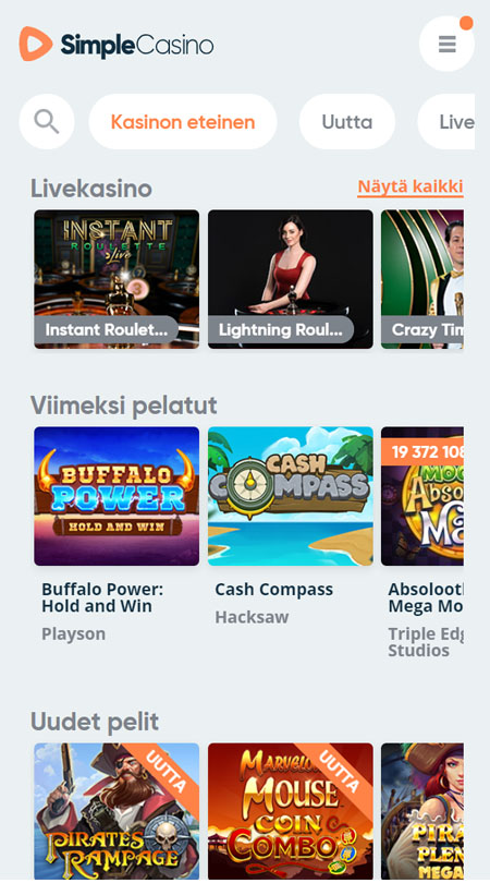 Simple Casino toimii sukkelasti myös puhelimella