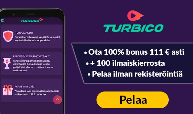Nappaa 100% talletusbonus 111 € asti + 100 ilmaiskierrosta Turbicolta