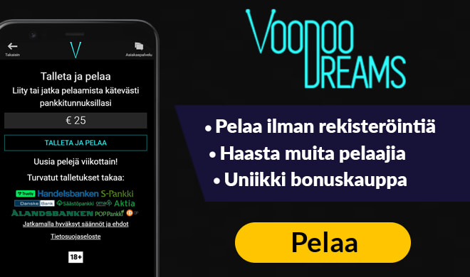 Kokeile VoodooDreams kasinoa ilman talletusta 50 ilmaiskierroksella
