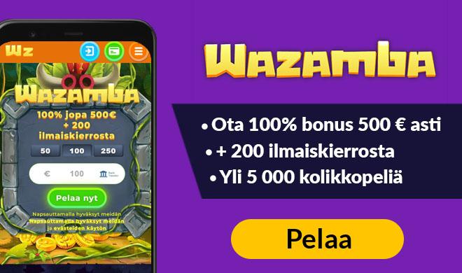 Kokeile nyt Wazamba kasinoa 100% bonuksella ja 200 ilmaiskierroksella
