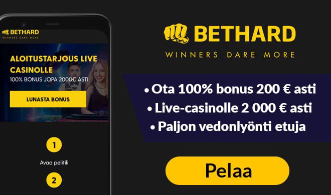 Aloita pelit Bethard casinolla jopa 100% bonuksella aina 2 000 € talletukseen asti