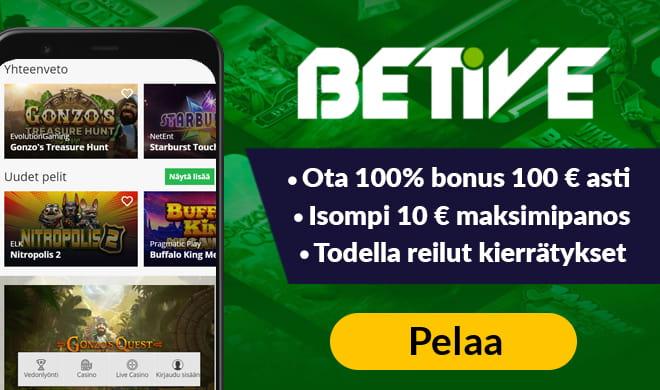 Kokeile Betive Casinoa 100% bonuksella, joka on voimassa aina 100 euron talletukseen asti
