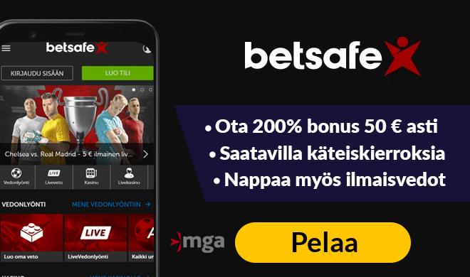 Kokeile Betsafe kasinoa uudella 200% bonuksella