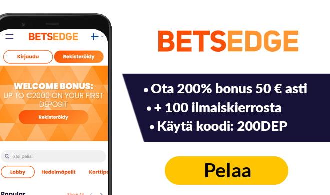Kokeile Betsedge kasinoa 200% bonuksella 100 € asti