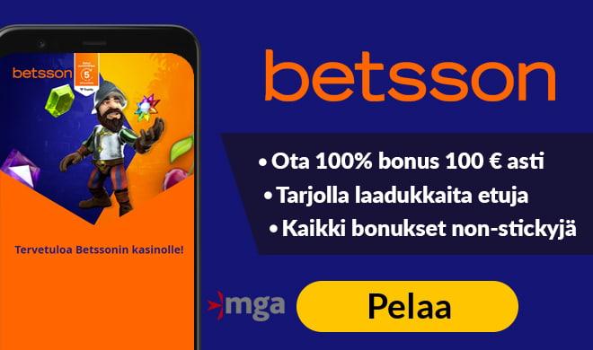 Betsson casino tarjoaa 100% non-sticky bonuksen 200 € asti + 50 käteiskierrosta.