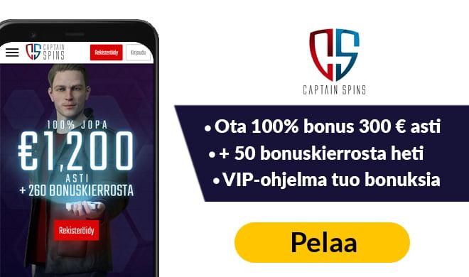 Kokeile Captain Spins kasinoa 100% bonuksella, joka on voimassa aina 300 € asti