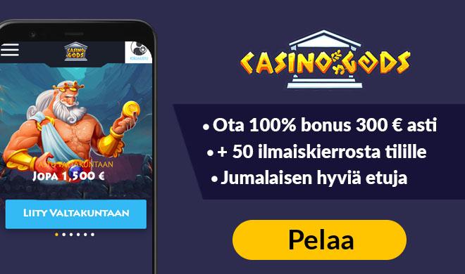 Aloita pelit CasinoGodsilla lunastamalla 100% bonus ja 300 ilmaiskierrosta
