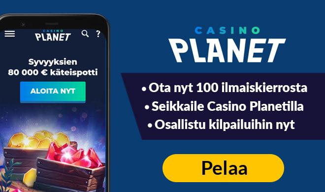 Nappaa Casino Planetin tarjoamat 100 ilmaiskierrosta jo tänään