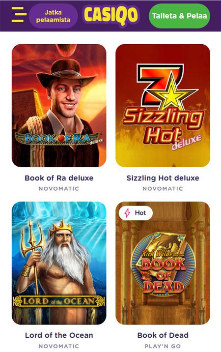 Casiqo Casino toimii hyvin myös mobiilissa