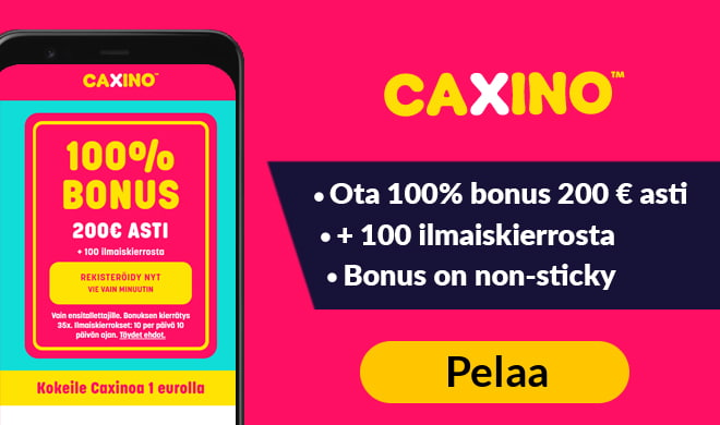 Kokeile Caxino Casinoa 100% bonuksella, joka on voimassa aina 200 € asti