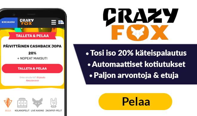 Crazy Fox kasinolla saat aina 20% tappioista takaisin käteisenä
