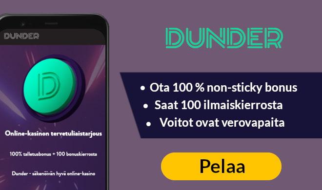 Kokeile nyt Dunder Casinoa 200 € non-sticky talletusbonuksen avulla