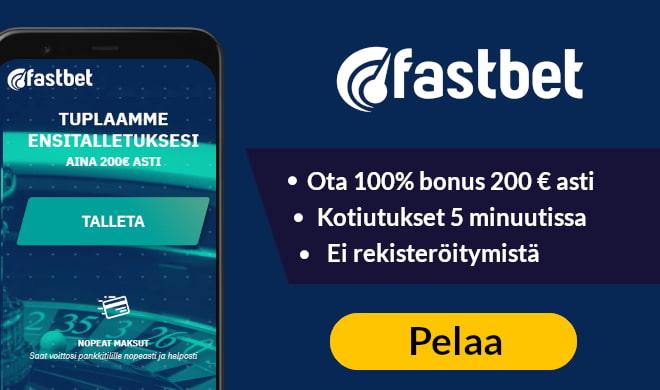 Kokeile nyt Fastbet kasinoa jopa 50 € ylimääräisillä bonuksilla