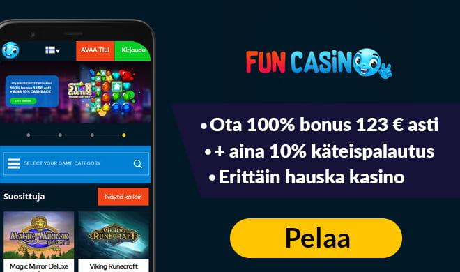 Kokeile Fun Casinoa 100% bonuksella, joka on voimassa 123 € asti
