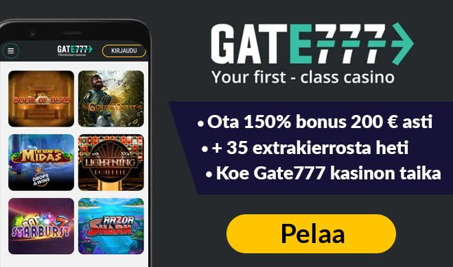 Kokeile nyt Gate777 Casinoa 150% bonuksella 200 € asti