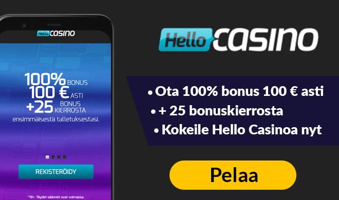 HelloCasino tuplaa talletuksesi aina 100 € asti