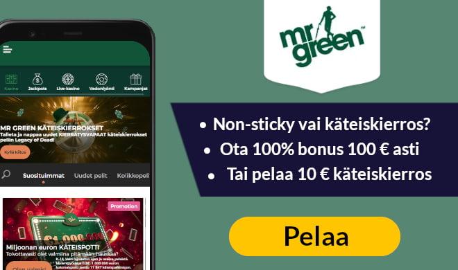 Kokeile nyt Mr Green Casinoa 100% bonuksen sekä 200 ilmaiskierroksen avulla
