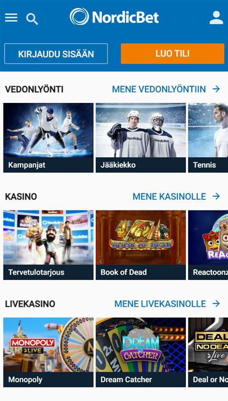 Nordicbet toimii näppärästi myös mobiilissa