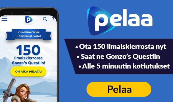 Kokeile Pelaa.com casinoa 150 ilmaiskierroksen avulla