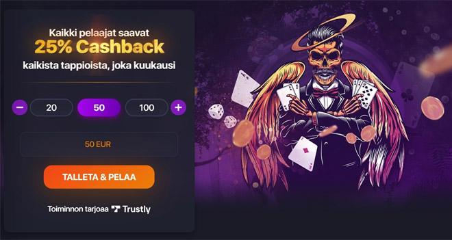 Praise casino bonuksena toimii 25% käteispalautus