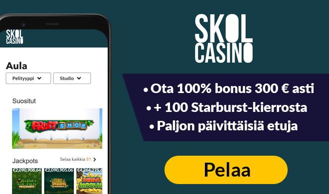 Kokeile nyt uutta Skol casinoa lunastamalla 100% bonus ja 300 ilmaiskierrosta