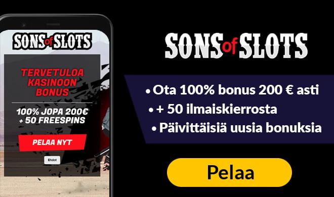 Sons of Slots bonus antaa sinulle 100% bonuksen 200 € asti + 50 kierrosta