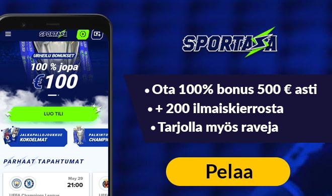 Sportaza Casinolla pääset aloittamaan pelit 100% bonuksella 500 € asti