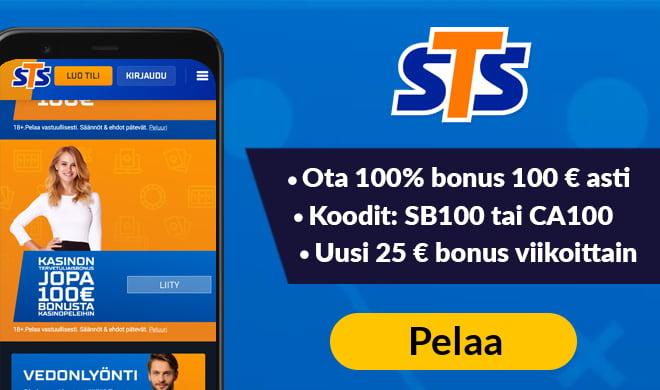 Kokeile STSbet kasinoa 100% bonuksella, joka on voimassa aina 100 € asti