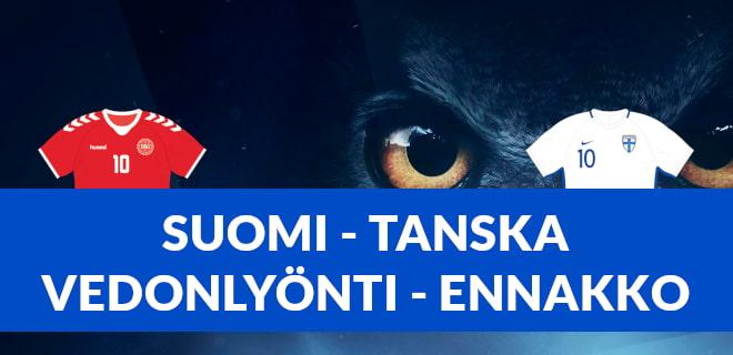 Lue ennakkoasetelmat Suomi Tanska otteluun jalkapallon EM-kisoissa